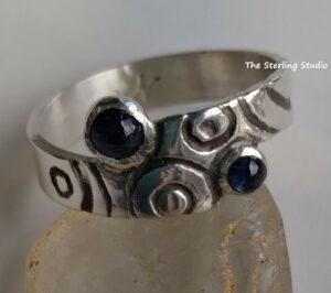 Sterling Studio Sapphire Echo ring